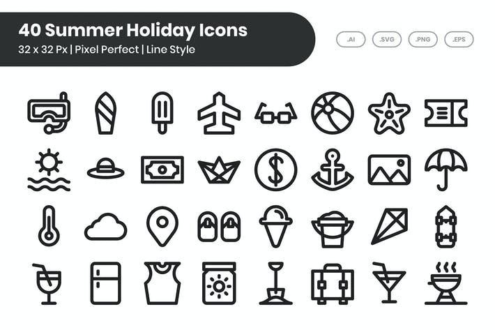 Thumbnail for 40 Summer Holiday Icons - Line