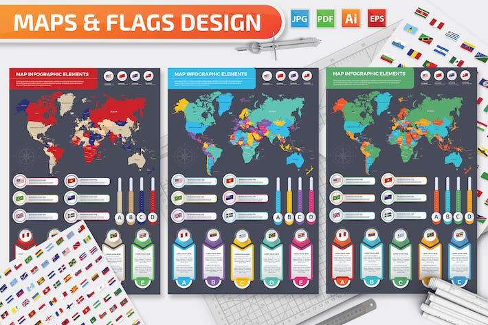 Thumbnail for Karten und Flaggen Infografiken Design