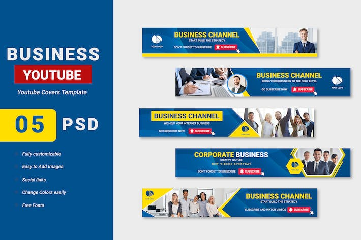 Thumbnail for Business Solution Channel Youtube Banner Template
