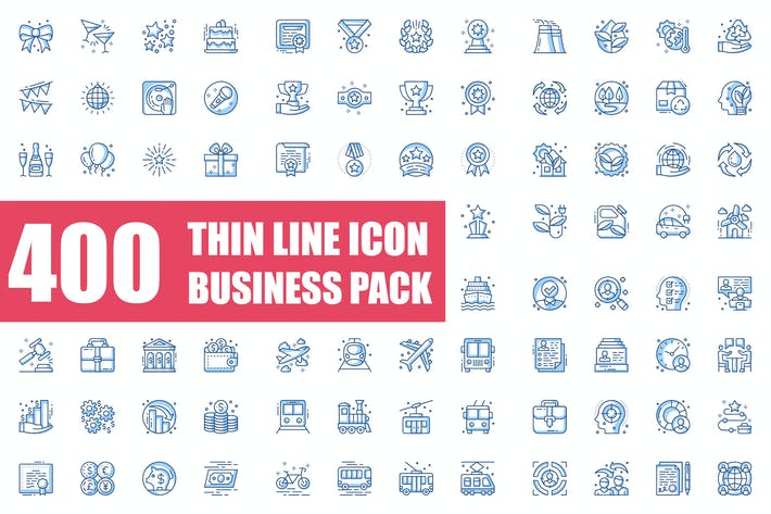 Thumbnail for Thin Line Icons Business Pack