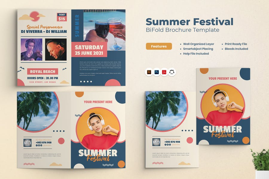 Summer Festival Party Bifold Brochure