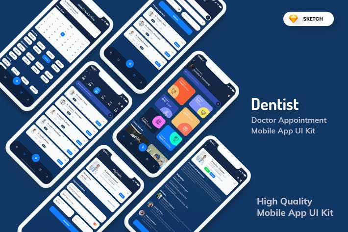 Thumbnail for Dentist Appointment Mobile App Dark (SKETCH)