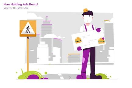 Man Holding Board - Ilustración Vector