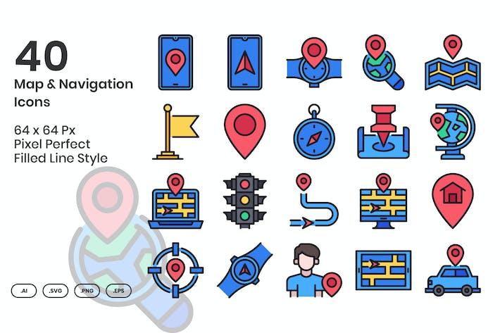 Thumbnail for 40 Набор Иконки карты и навигации - заполненная линия