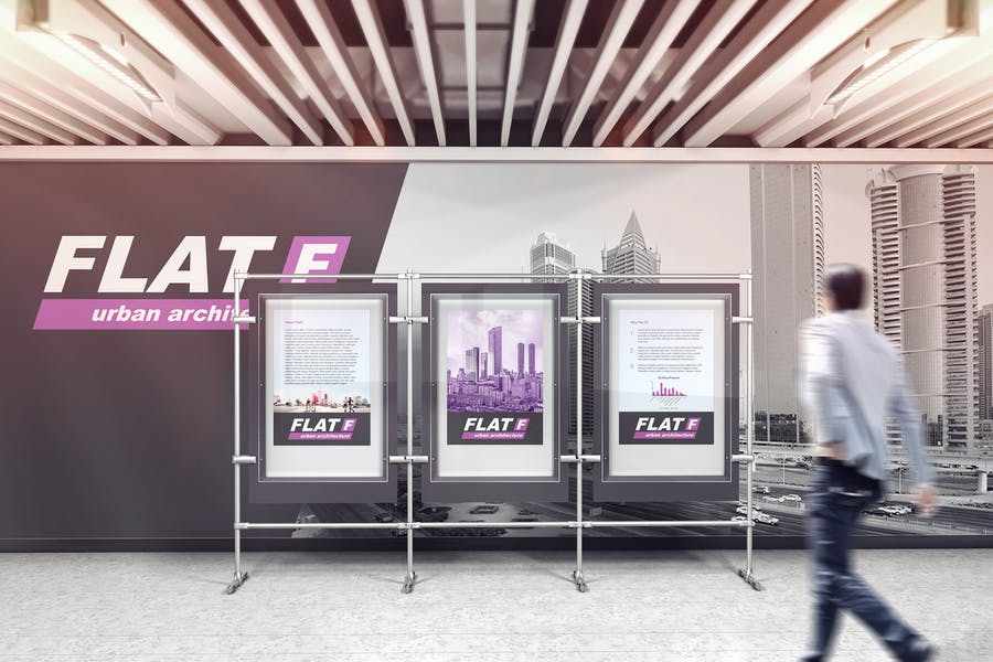 Ad In The Exhibition Hall Mockups