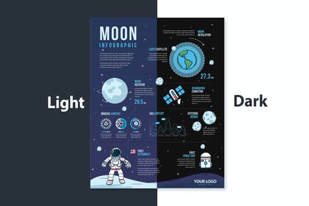 Journey to The moon Infographic elements