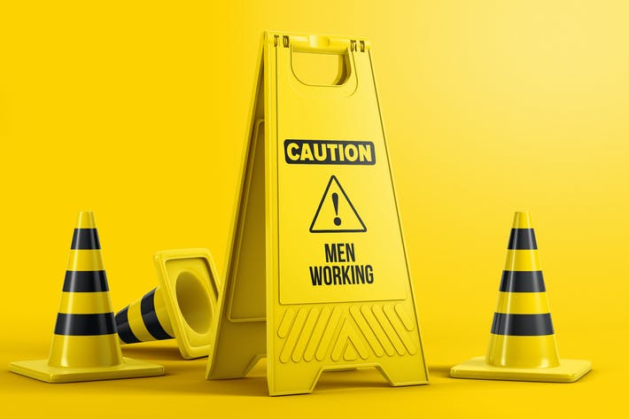 Thumbnail for Plastic Caution Floor Sign Board Mockup