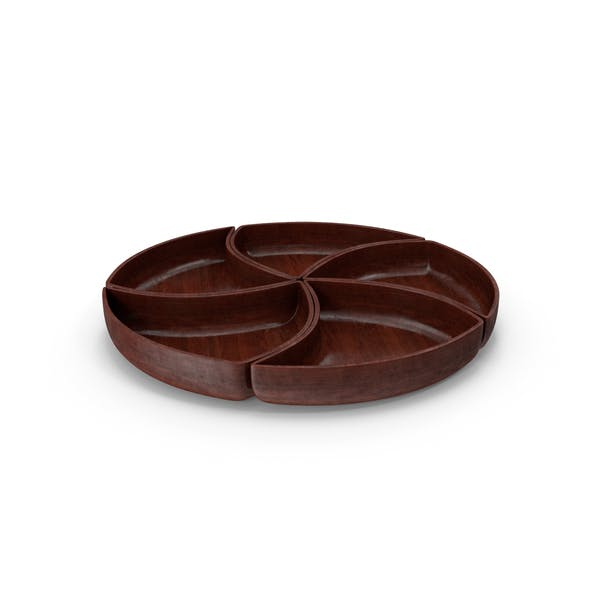 Thumbnail for Wooden 5 Compartment Circle Bowl