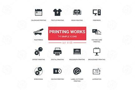 Printing works - line design silhouette icons set