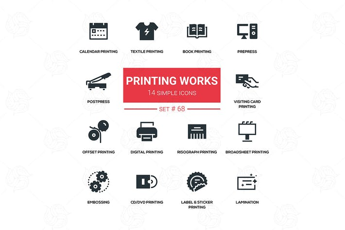 Thumbnail for Printing works - line design silhouette icons set