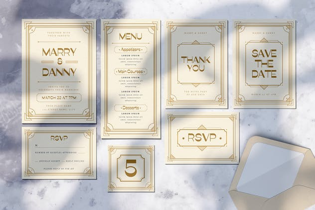 Wedding Invitation Set - Art Deco Style