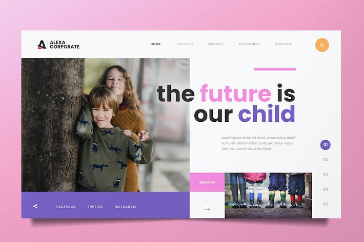 Thumbnail for Children Education Web Header PSD and AI Template