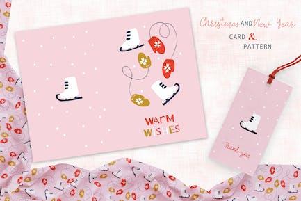Patines y manoplas tarjeta y patrón