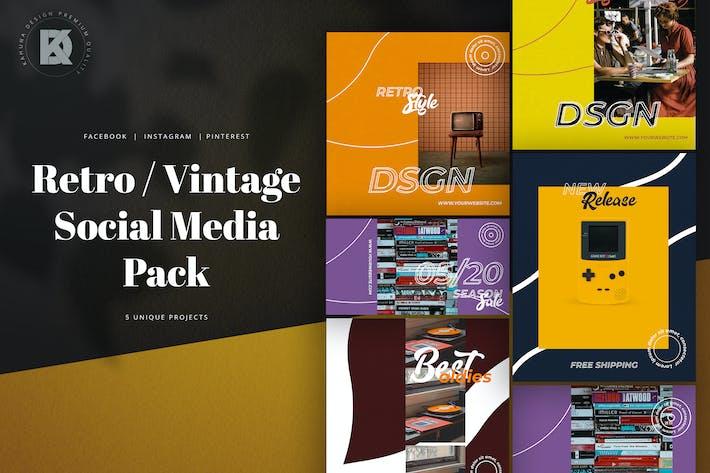 Thumbnail for Pack de médias sociaux rétro vintage
