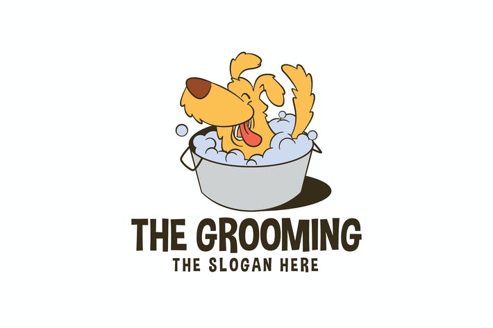 Thumbnail for Cartoon Dog Grooming Service Mascot Logo