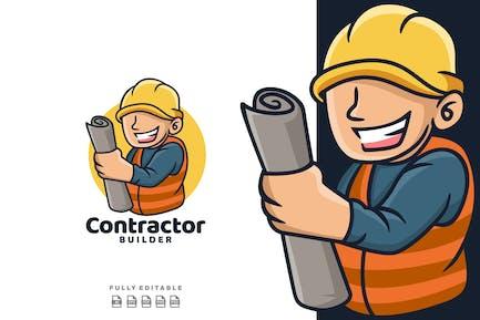 Cartoon Contractor Mascot Logo
