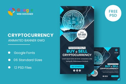 Cryptocurrency Bitcoin Animated Banner GWD