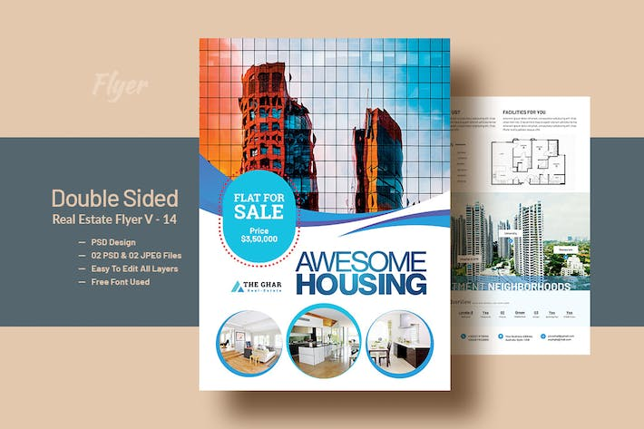 Thumbnail for Double Side RealEstat (Apartment Sales) Flyer V-14