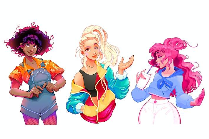 Thumbnail for Three Isolated Cartoon Girls
