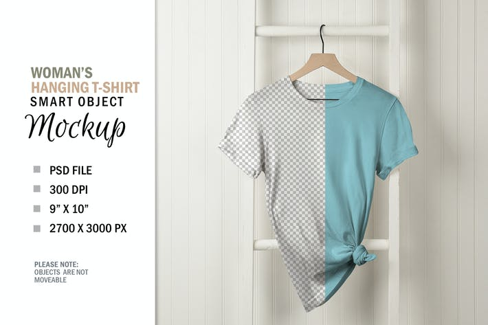 T-Shirt Mockup sur cintre blanc