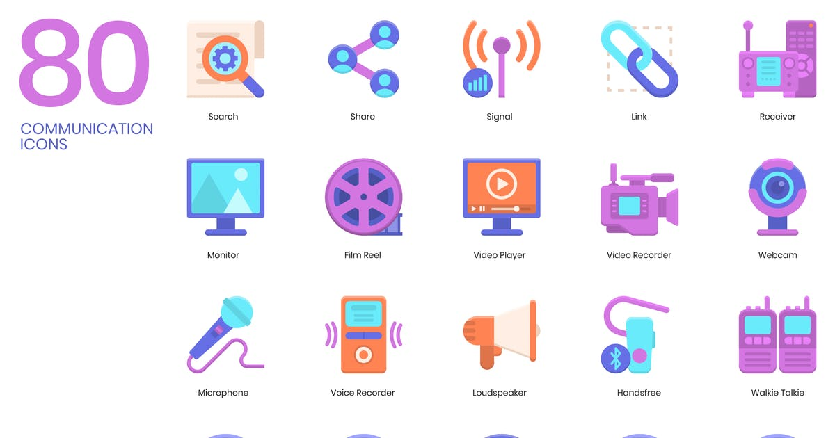 Download 80 Communication Icons   Violet Series by Krafted
