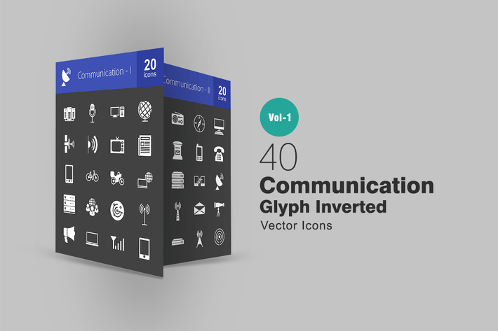 Thumbnail for 40 Kommunikationsglyphe invertierte Icons