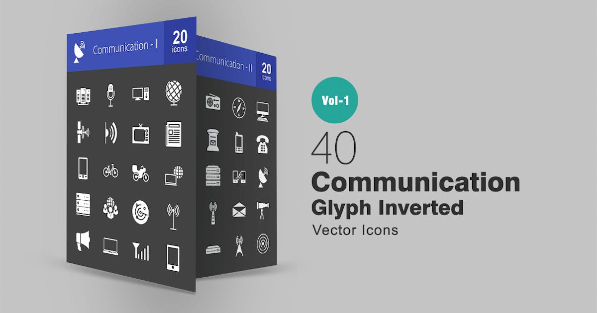 40 Communication Glyph Inverted Icons by IconBunny