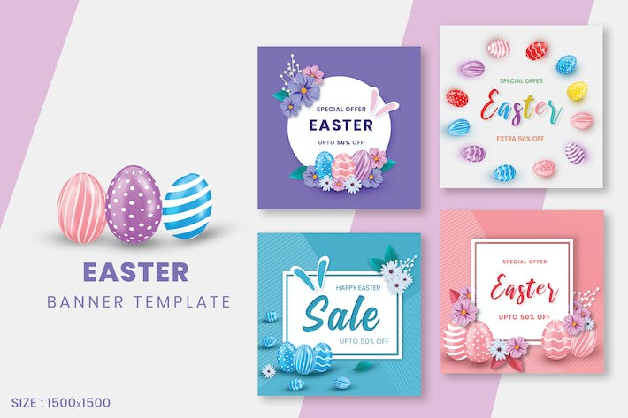 Thumbnail for Happy Easter Day Social Media Post Template