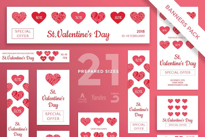 Thumbnail for Valentine's Day Banner Pack Template