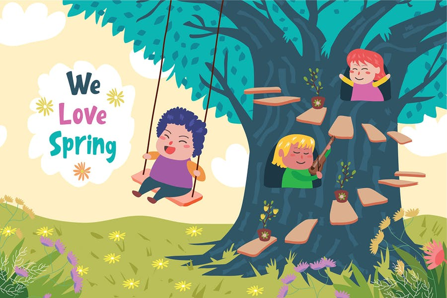 Love Spring - Vector Illustration