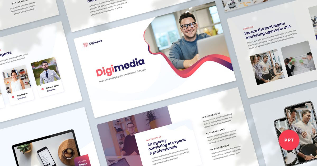 Download Digital Marketing Presentation PowerPoint Template by Krafted