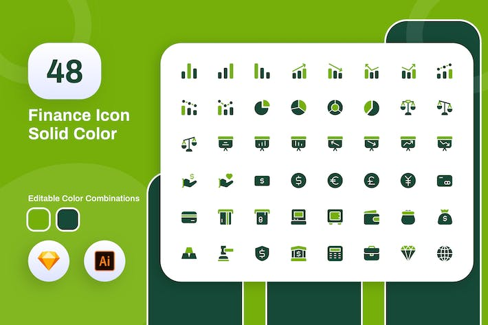 Thumbnail for Finance Solid Color Icon Set