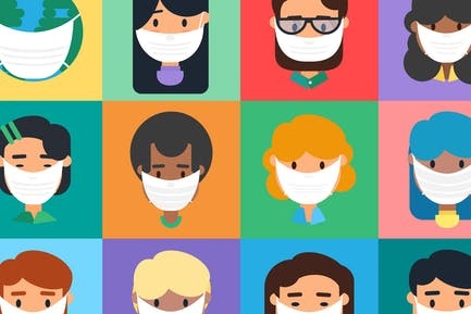Diverse People In Mask Illustration