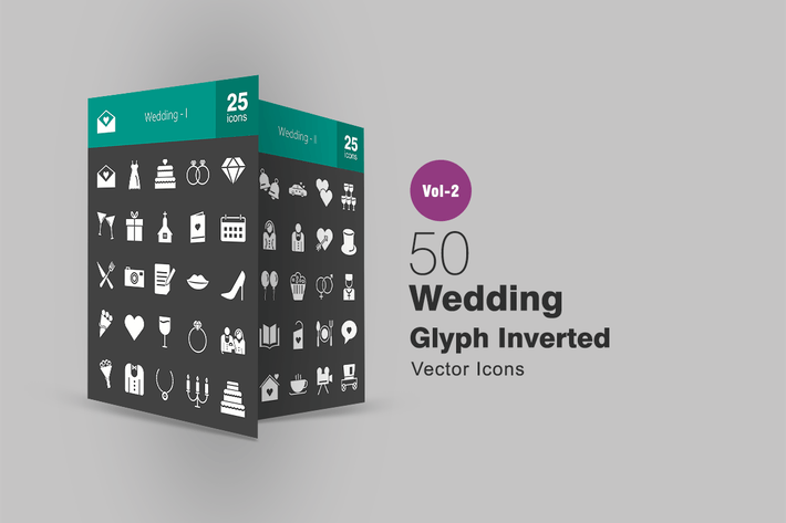 Thumbnail for 50 Wedding Glyph Inverted Icons