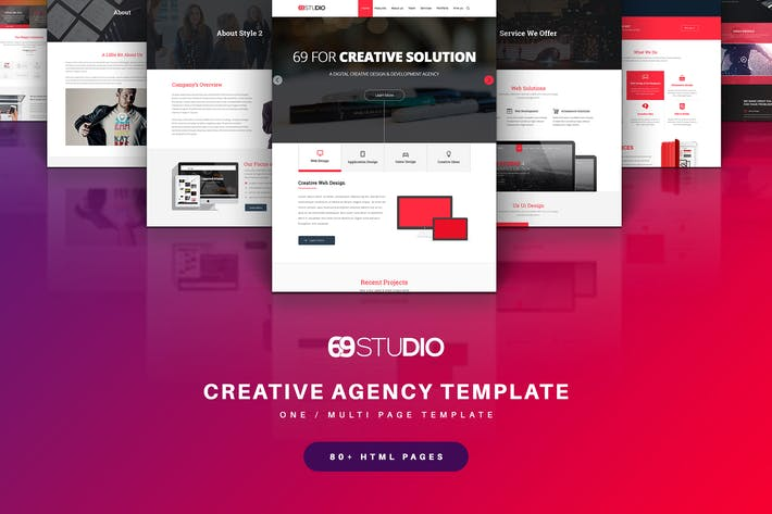 Thumbnail for 69Studio Creative Agency HTML5 Template