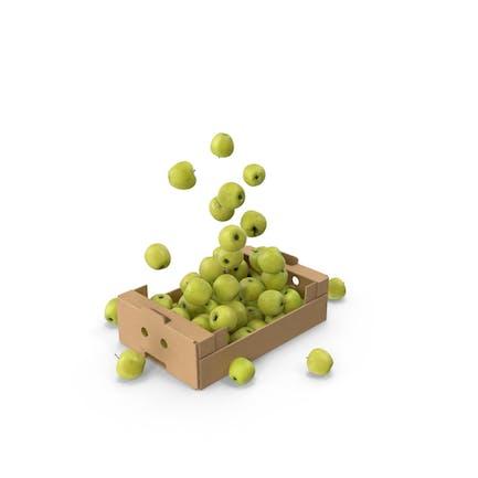 Caja de cartón con manzanas doradas Volador