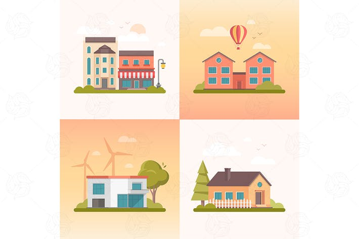 Thumbnail for Nice buildings - set of flat design elements