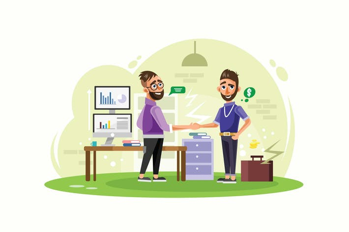 Thumbnail for Business Partners Create a Startup Illustration