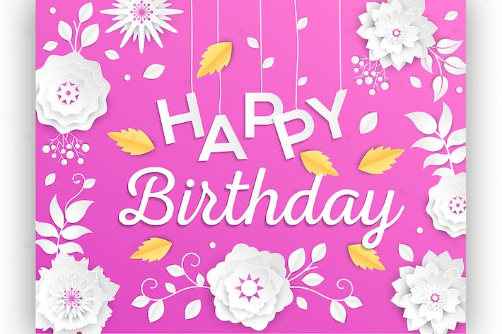 Thumbnail for Happy birthday - vector paper cut illustration