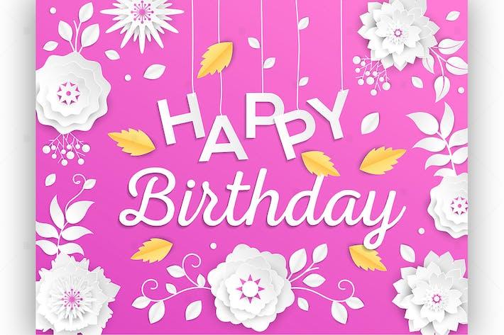 Thumbnail for Happy birthday - vector paper cut illustration