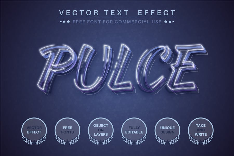 Pulce - editable text effect, font style