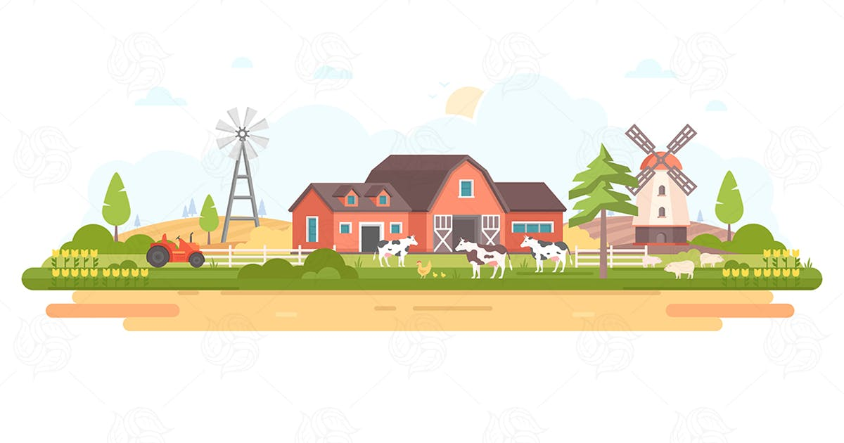 Download Country life - modern flat design illustration by BoykoPictures