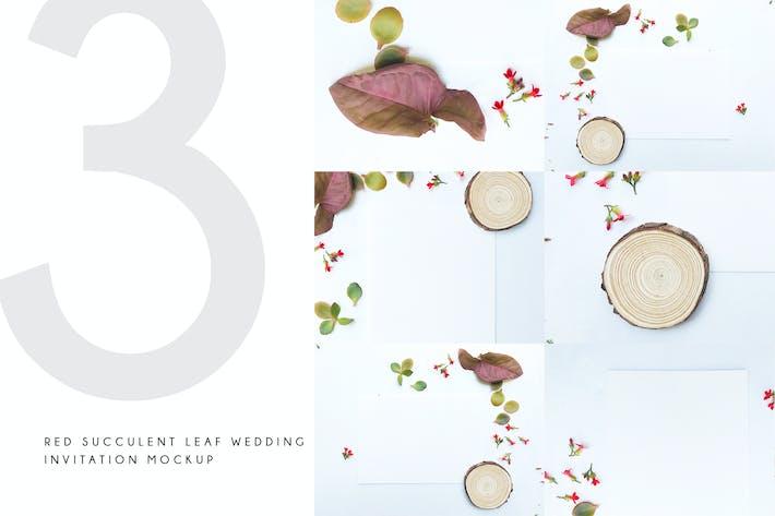 Thumbnail for Red Succulent Leaf Wedding Invitation Mockup