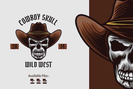 Cowboy Skull Vintage Badge Logo