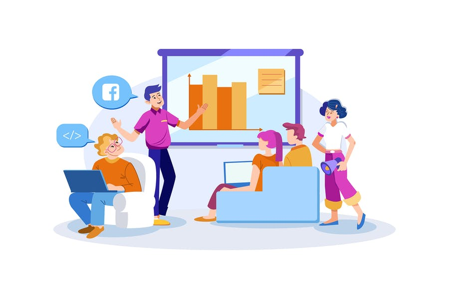 Digital Marketing Campaign Strategy Illustration