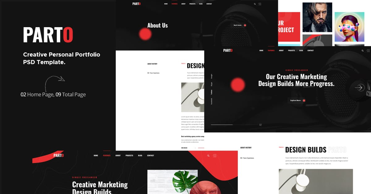 Download Parto - Creative Personal Portfolio PSD Template by themesflat