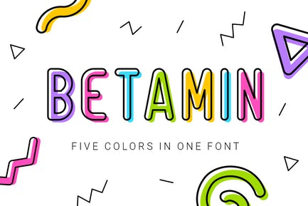 Betamin|colorful sans-serif font