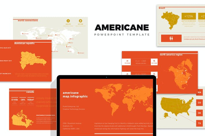 Thumbnail for Americane : America Region Info Map Powerpoint