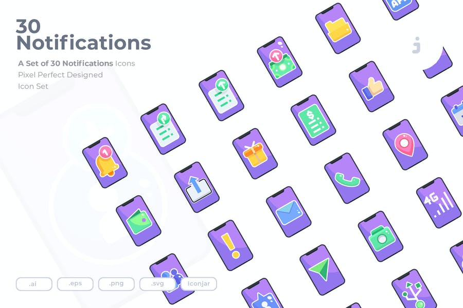 30 Notifications Icons - Flat