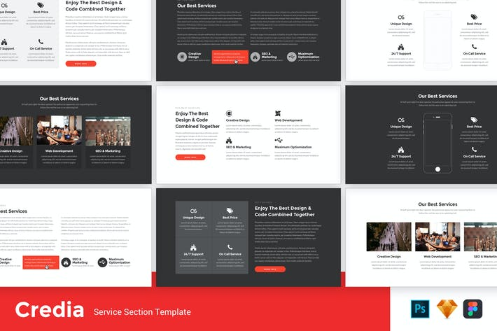 Thumbnail for Credia - Service Section UI Kit Template